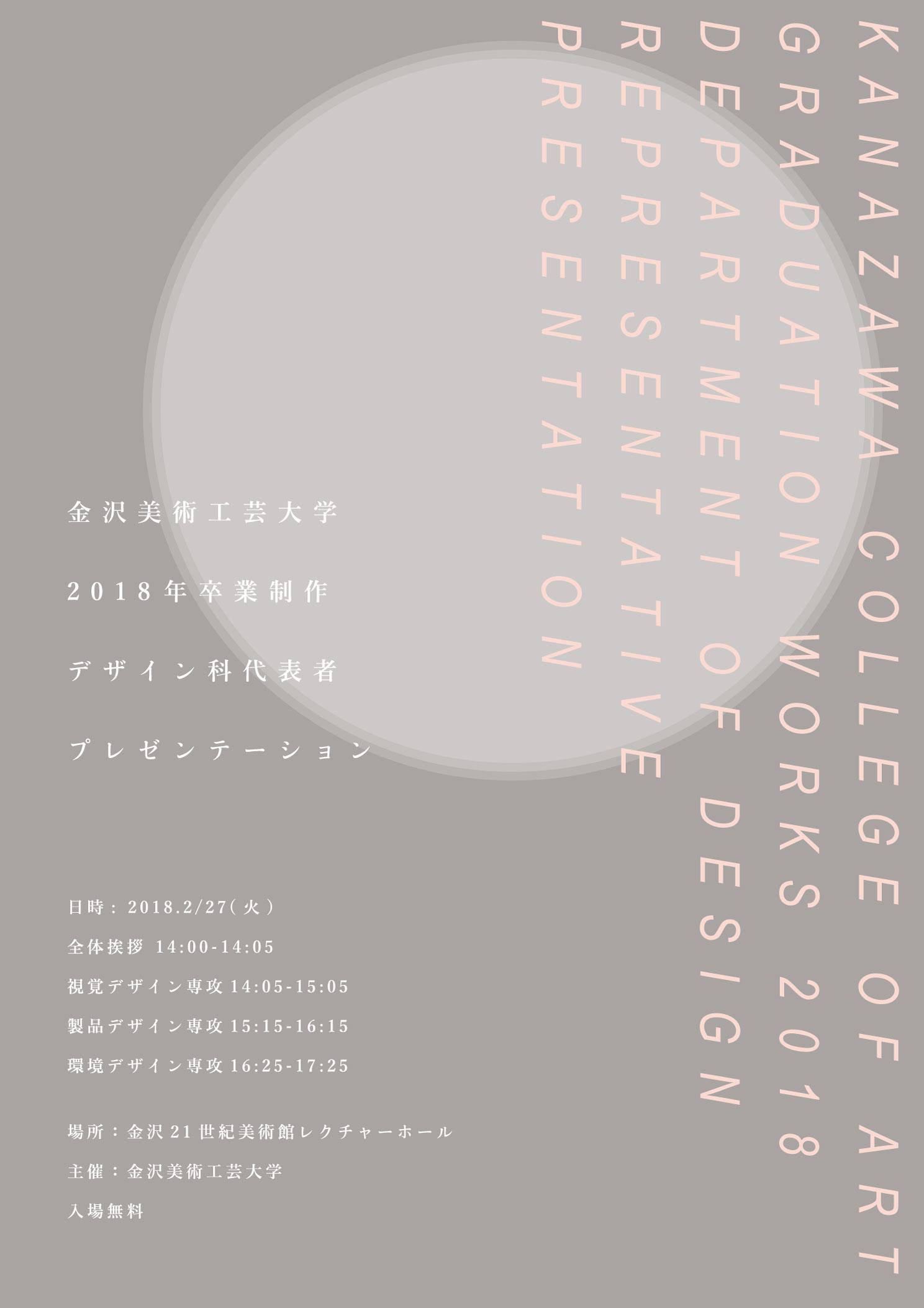 金沢美術工芸大学 2018年 卒業制作 デザイン科代表者プレゼンテーション